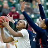 Missouri Southern's Chasidee Owens (2) gets past Rogers State's Alicia Brown (10) during their game on Saturday at Leggett & Platt.<br /> Globe | Laurie Sisk