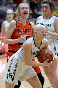 College Heights' Kaynahn Burk strips the ball from Jasper's Talon Flenniken (25) during their Class 2 District 12 championship game on Friday night at Webb City High School. Globe   Laurie Sisk