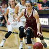 Joplin's Diane Wagler (21) gets past Neosho's Ashley Talley (2) and Sydney Linney (23) during the Eagles' season opener on Tuesday night at NHS.<br /> Globe | Laurie Sisk