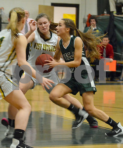 Photo by Albert J. Marro   MSJ's Jenna Eaton (3) drives sthe lane  during Friday's game against West Rutland. The Academy won 35-32.