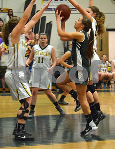 Photo by Albert J. Marro   MSJ's Jenna Eaton (3) has a shot blocked while attempting to drive the lane against West Rutland  during Friday's game in Westside.