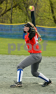 Photo by Albert J. Marro   Mill River's McKenna Ludden fires to the plate during Wednesday's game against Woodstock in North Clarendo. MRU won 5-0.