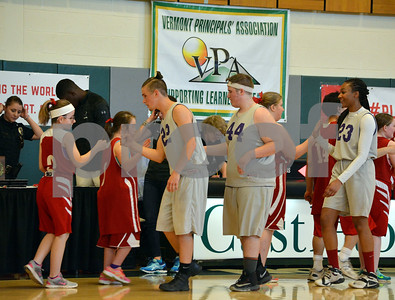 Photo by Albert J. Marro   Members of the Brattleboro and Champlain Valley unified  baskatball teams congratulate one another after Thursday's Unified Basketball 2017 State Championship played at Castleton University. The event is cosponsored by the Vermont Principals Association and Special Olympics of Vermont. BRattleboro won.