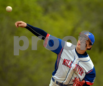 Photo by Albert J. Marro   Mill River's Jake Bishop fires to the plate during Monday's game against MSJ.  The game was played in North Clarendon.
