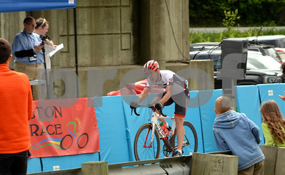 Photo by Albert J. Marro   Marc Brazeau of Gatineau, Que., crosses the finish line duirng the Master Men 4/5 race Saturday. Brazeau rode virtually alone during the entire  38 miles of the race which he won by 40 sec.Brazeau was participating in the Annual Killington Stage Race which was held over the Memorial Day weekend. Bikers from around the United State and Canada participated in the three-day event.