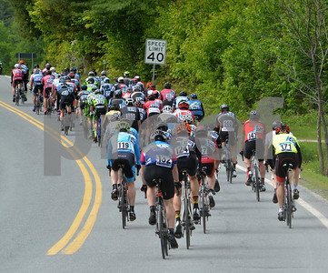 Photo by Albert J. Marro   A pack of riders make sure they dopn't break the speed limit as they cruise south along Rte. 100A in Bridgewater during the Annual Killington Stage Race which was held over the Memorial Day weekend. Bikers from around the United State and Canada participated in the three-day event.