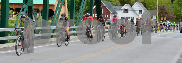 Photo by Albert J. Marro   A stretched out group of women 3/4/5 riders peddle their way south along Rte. 100A while participating in the Annual Killington Stage Race which was held over the Memorial Day weekend. Bikers from around the United State and Canada participated in the three-day event.