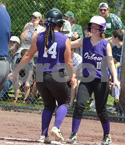 Photo by Albert J. Marro Oxbow's Kayleigh Trojanowski (11) congratulates Madison Fornwalt at plate after Fornwalt smack a home run  during the D-III softball championship game against Leland & Gray. Oxbow defeated Leland & Gary 11-2 at Veterans Park in Poultney Saturday afternoon.