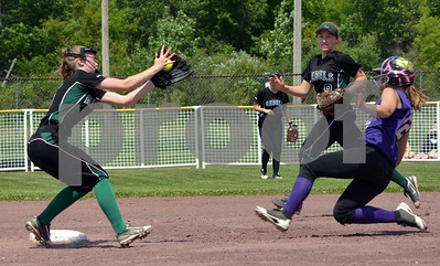 Photo by Albert J. Marro Oxbow Kaysea Neil, right, steals second sliding under the tag of Leland & Gray's Erin Cutts during the D-III softball championship. Oxbow defeated Leland & Gary 11-2 at Veterans Park in Poultney Saturday afternoon.