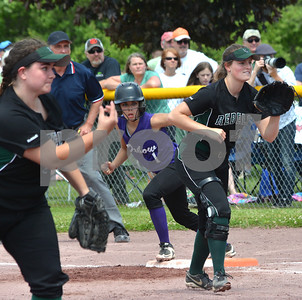 Photo by Albert J. Marro Oxbow's Bailee Wheeler leads off first base during the D-III softball championship game against Leland & Gray. Mariah Hazard is the first baseman and Olivia Brown was the pitcher for the Rebels. Oxbow defeated Leland & Gary 11-2 at Veterans Park in Poultney Saturday afternoon.