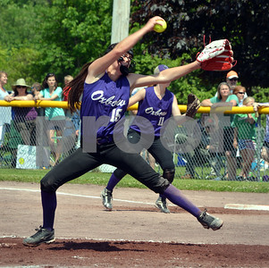 Photo by Albert J. Marro Oxbow pitcher Mary Bourgeois fires to rthe palte as she led  the Olypians tothe D-III softball championship. Oxbow defeated Leland & Gary 11-2 at Veterans Park in Poultney Saturday afternoon.
