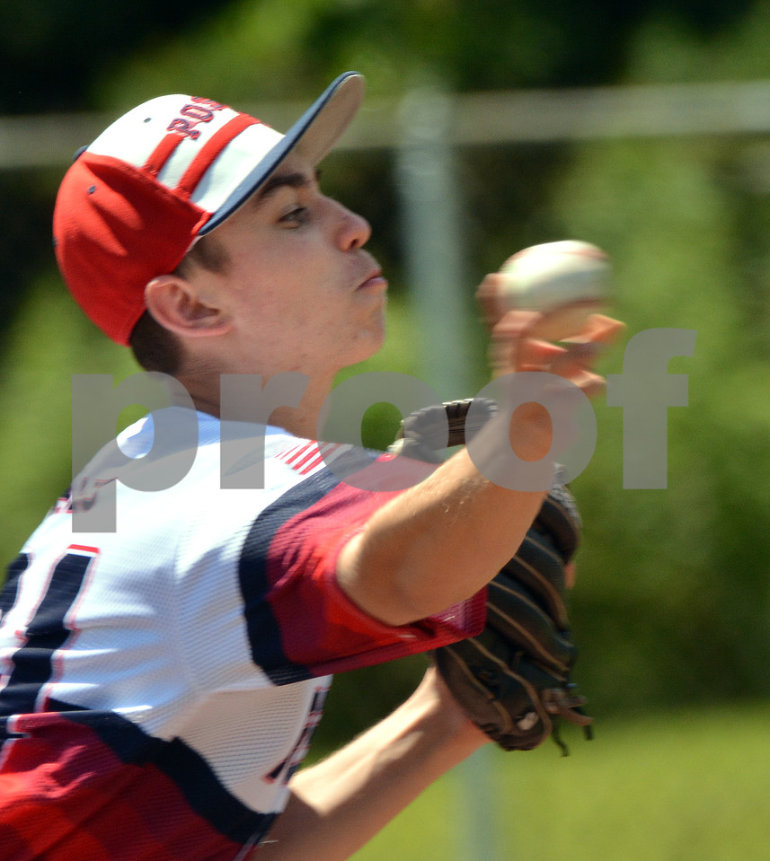 Photo by Albert J. Marro   Post 31 pitcher Zach Bates fires to the plate during first gam,e of a twinbill  against Ludlow Post 36 Saturday at St. Peter's Field in Rutland. Bates had a no hitter, perfect game  until two outs in the top of the fifth inning. Post 31 won  17-0.