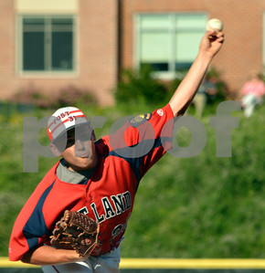 Photo by Albert J. Marro   Postn 31's Josh Beayon  fires to the pale during Tuesday's conference game against Lakes Region at Spartan Stadium in Castleton.