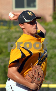 Photo by Albert J. Marro   Lakes Region pitcher Sam Eaton fires to the pale during Tuesday's conference game against Rutland Post 31 at Spartan Stadium in Castleton.