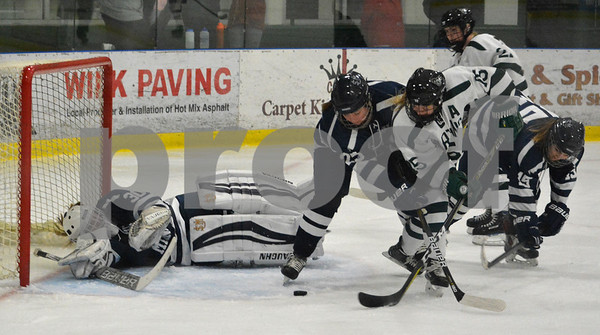 Photo by Albert J. Marro   Castleton 's Lisa Kilroy (15) attempts to puch the puck past Southern Maine golaie Whitneym Padgett during Saturday's matinee game at Spartan Arena in Rutland Town. On defense for the Huskies is Grace Simmons (25). CU won 4-1