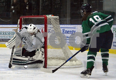 Photo by Albert J. Marro   Castleton goalie Alexis Kalm stops a shot by Endicott's Lexi Klein (18) during Saturday's opening round of the Rutland Herald Invatational at Spartan Arena in Rutland Town. The Gulls won 7-3.
