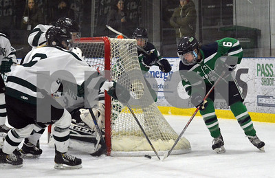 Photo by Albert J. Marro   Endicott's Allison Young (6) attempts a wrap around shot as Castleton's Sabrina Hosner (left) defends for the Spartans during Saturday's opening round of the Rutland Herald Invatational at Spartan Arena in Rutland Town. The Gulls won 7-3.