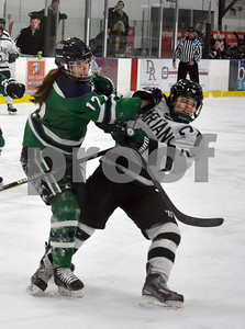 Photo by Albert J. Marro   Endicott's Cally Chase (12) and Castleton's Ashley Pelkey (2) get physical during Saturday's opening round of the Rutland Herald Invatational at Spartan Arena in Rutland Town. The Gulls won 7-3.