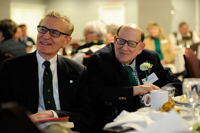 Jeb Wallace-Brodeur / Staff Photo Former Washington County Sen. Bill Doyle, right, enjoys a laugh Friday with former senate colleague Vince Illuzzi at the Capital Plaza in Montpelier. Doyle was hono0red for his years of public service at the first-ever Central Vermont Chamber of Commerce St. Patrick's Day Breakfast. Speakers at the event icluded Illuzzi, Gov. Jim Douglas, historian Howard Coffin and Sen. Janette White.