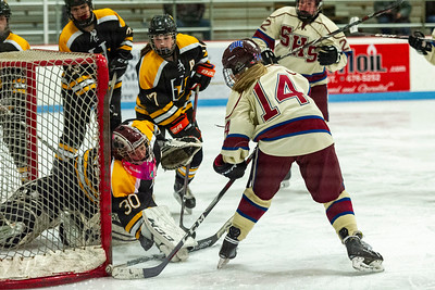 Spaulding's Molly Parker, right, slides the puck past Harwood goalie Kaylee Thayer, left, during Saturday's matchup at the B.O.R. in Barre.
