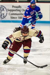 Spaulding forward Hannah King, bottom, zips up the ice against Hartford on Saturday in Barre.