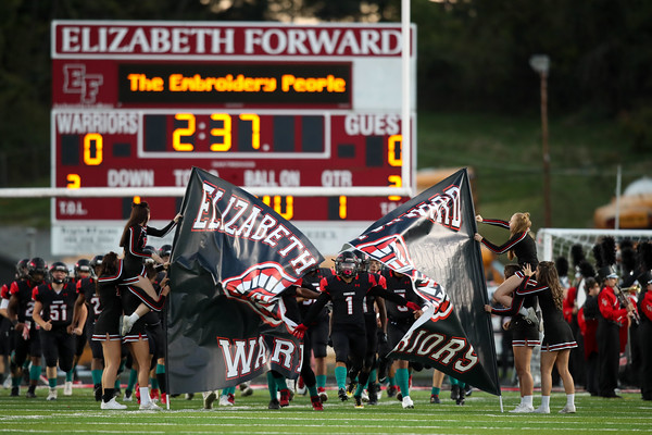 Elizabeth Forward varsity football team defeats South Park 48-0 in Class 3A Interstate Conference play at Warriors Stadium, Elizabeth, Pa., Oct. 1, 2021