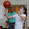 Peabody, Ma. 8-7-17. Ashley Milne practices shooting baskets at the girl's basketball camp held at the Higgins Middle School.