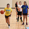 Peabody, Ma. 8-7-17. Instructor Jordan Muse shows Emma Ruggera, Ashley Milne and Victoria Milne how to approach the basket during girl's basketball camp at the Higgins Middle School.