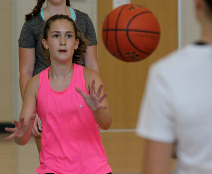 Peabody, Ma. 8-7-17. Katie Amico practices shooting drills at girl's basketball camp held at the Higgins Middle School.