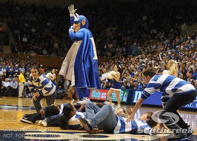 The Blue Devil mascot performs during the basketball game between the Colorado State Rams and the Duke Blue Devils at Cameron Indoor Stadium, Durham, North Carolina.