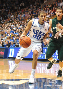 Duke's Seth Curry drives to the basket during the basketball game between the Colorado State Rams and the Duke Blue Devils at Cameron Indoor Stadium, Durham, North Carolina.