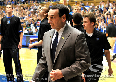 Coach K makes his entrance during the basketball game between the Colorado State Rams and the Duke Blue Devils at Cameron Indoor Stadium, Durham, North Carolina.