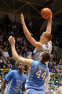 Duke and North Carolina battle to determine the ACC regular season champions during the basketball game between the UNC Tarheels  and the Duke Blue Devils at Cameron Indoor Stadium, Durham, North Carolina. UNC beat Duke 88-70.