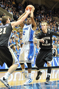 Blue Devil's Guard Quinn Cook (F) shoots during the basketball game between the Western Michigan Broncos and the Duke Blue Devils at Cameron Indoor Stadium, Durham, North Carolina.  The Blue Devils defeated the Broncos 110-70.