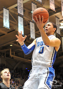 Blue Devil's Guard Austin Rivers (F) makes a layup during the basketball game between the Western Michigan Broncos and the Duke Blue Devils at Cameron Indoor Stadium, Durham, North Carolina.  The Blue Devils defeated the Broncos 110-70.