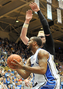 Blue Devil's Forward Josh Hairston (So) goes to the basket during the basketball game between the Western Michigan Broncos and the Duke Blue Devils at Cameron Indoor Stadium, Durham, North Carolina.  The Blue Devils defeated the Broncos 110-70.