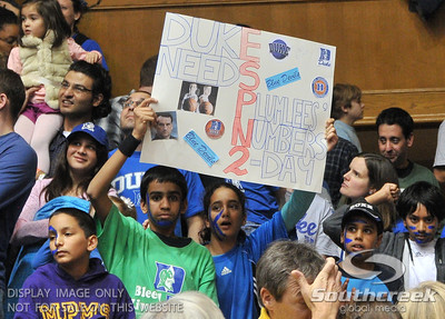 Duke fans show their hand made poster during the basketball game between the Western Michigan Broncos and the Duke Blue Devils at Cameron Indoor Stadium, Durham, North Carolina.  The Blue Devils defeated the Broncos 110-70.