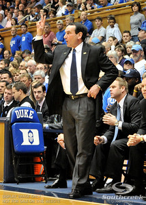 Coach K calls a play during the basketball game between the Western Michigan Broncos and the Duke Blue Devils at Cameron Indoor Stadium, Durham, North Carolina.  The Blue Devils defeated the Broncos 110-70.