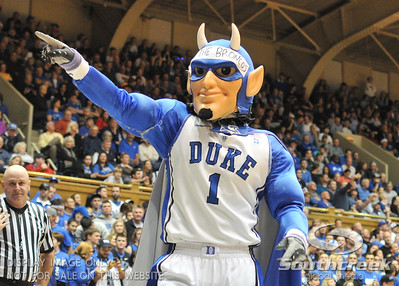 The Blue Devil mascot gets the crowd excited during the basketball game between the Western Michigan Broncos and the Duke Blue Devils at Cameron Indoor Stadium, Durham, North Carolina.  The Blue Devils defeated the Broncos 110-70.