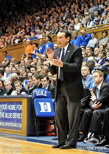 Coach K cheers on his team during the basketball game between the Western Michigan Broncos and the Duke Blue Devils at Cameron Indoor Stadium, Durham, North Carolina.  The Blue Devils defeated the Broncos 110-70.