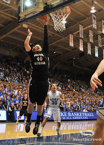 Bronco's Forward Matt Stainbrook scores during the basketball game between the Western Michigan Broncos and the Duke Blue Devils at Cameron Indoor Stadium, Durham, North Carolina.  The Blue Devils defeated the Broncos 110-70.