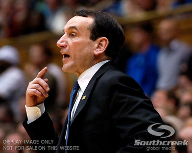 Coach K instructs his players during the basketball game between the Duke Blue Devils and the NC State Wolfpack at Cameron Indoor Stadium, Durham NC.  Duke came from 20 points behind with 11 minutes remaining to win the game, 78-73.