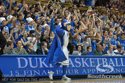 The Cameron Crazies during the basketball game between the Duke Blue Devils and the NC State Wolfpack at Cameron Indoor Stadium, Durham NC.  Duke came from 20 points behind with 11 minutes remaining to win the game, 78-73.