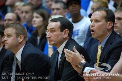 Coach K during the basketball game between the Duke Blue Devils and the NC State Wolfpack at Cameron Indoor Stadium, Durham NC.  Duke came from 20 points behind with 11 minutes remaining to win the game, 78-73.