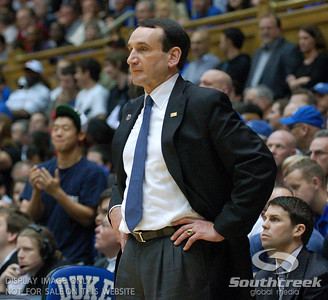 Coach K leads his team to another amazing comeback during the basketball game between the Duke Blue Devils and the NC State Wolfpack at Cameron Indoor Stadium, Durham NC.  Duke came from 20 points behind with 11 minutes remaining to win the game, 78-73.