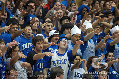 The Cameron Crazies celebrate during the basketball game between the Duke Blue Devils and the NC State Wolfpack at Cameron Indoor Stadium, Durham NC.  Duke came from 20 points behind with 11 minutes remaining to win the game, 78-73.
