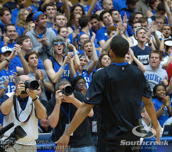 Duke Blue Devils Forward Josh Hairston (S) revs up the fans during the basketball game between the Duke Blue Devils and the NC State Wolfpack at Cameron Indoor Stadium, Durham NC.  Duke came from 20 points behind with 11 minutes remaining to win the game, 78-73.