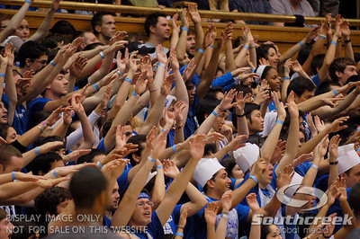 The Cameron Crazies cheer on their team during the basketball game between the Duke Blue Devils and the NC State Wolfpack at Cameron Indoor Stadium, Durham NC.  Duke came from 20 points behind with 11 minutes remaining to win the game, 78-73.