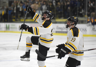Harwood sophomore Finn O'Hara, left, celebrates a second-period goal Wednesday with teammate Skylar Platt during the Highlanders' 3-2 overtime state championship win over Milton at UVM.