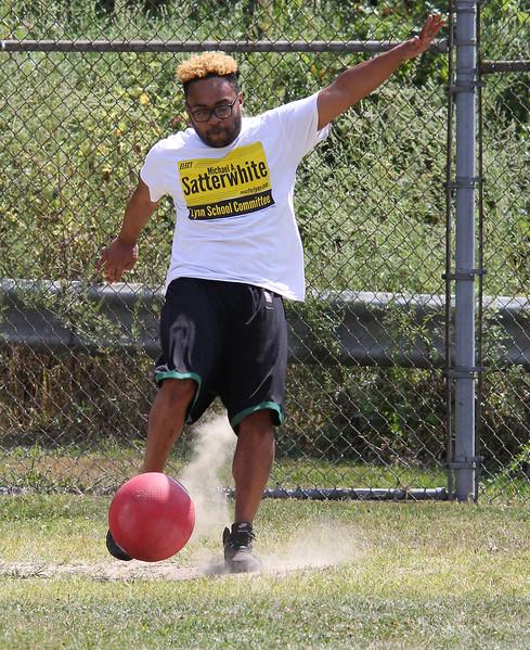 Lynn, Ma. 8-27-17. Ben Reid during a kickball tournament to benefit West Lynn Pop Warner. The event was held at Barry park in Lynn.